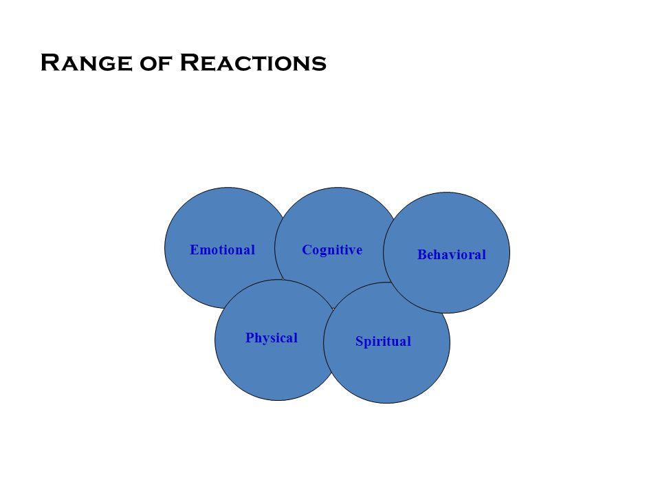 Range of Reactions Emotional Behavioral Spiritual Physical Cognitive