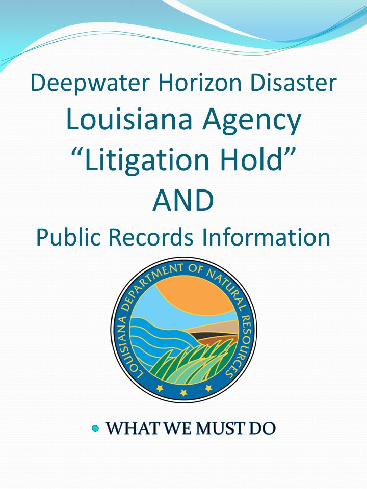 Deepwater Horizon Disaster Louisiana Agency Litigation Hold AND Public Records Information