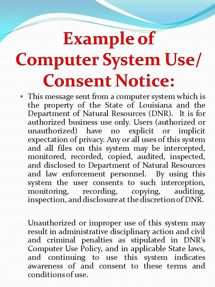 This message sent from a computer system which is the property of the State of Louisiana and the Department of Natural Resources (DNR).