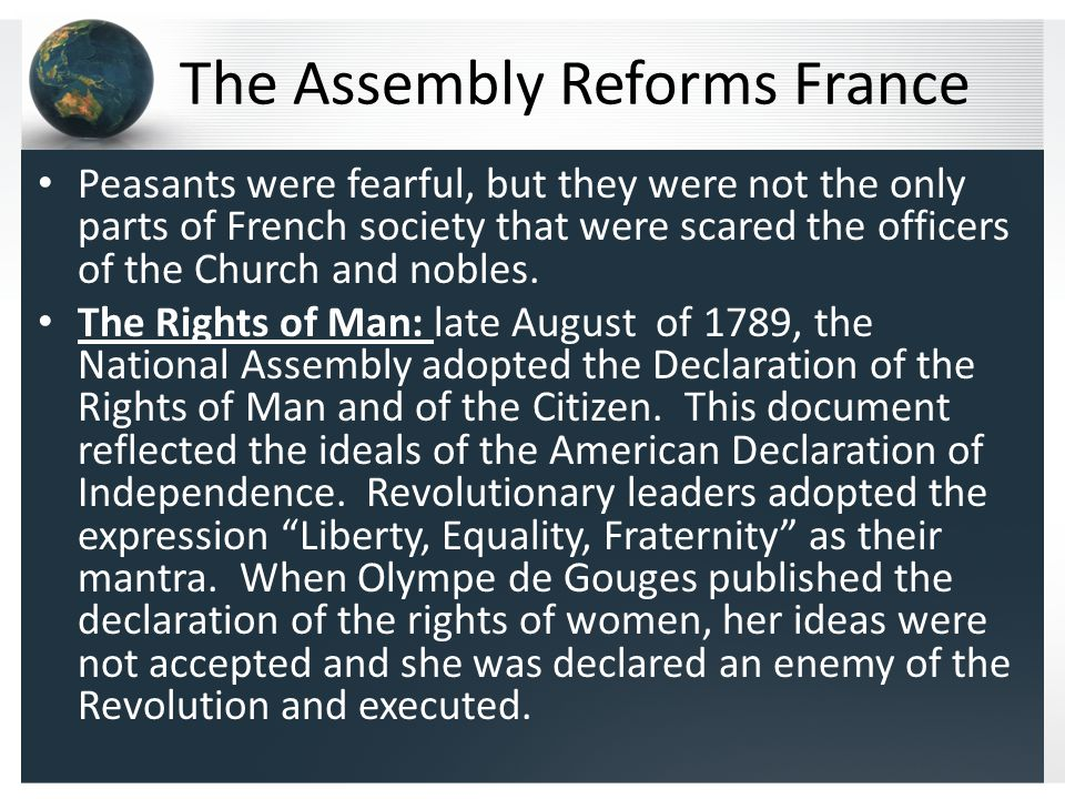 A State Controlled Church: The Assembly took over the Church's lands and declared Church officials and priests were to be elected and be paid as state officials.