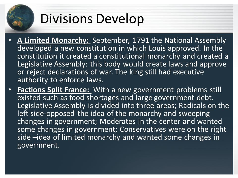 Divisions Develop A Limited Monarchy: September, 1791 the National Assembly developed a new constitution in which Louis approved.