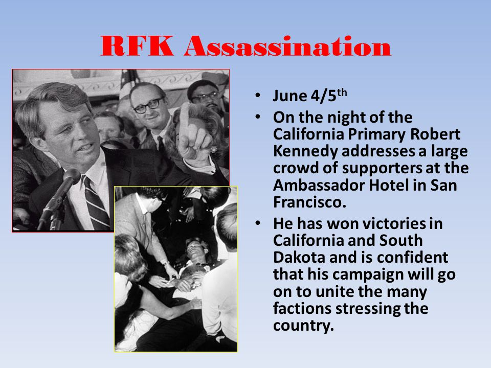 RFK Assassination June 4/5 th On the night of the California Primary Robert Kennedy addresses a large crowd of supporters at the Ambassador Hotel in S