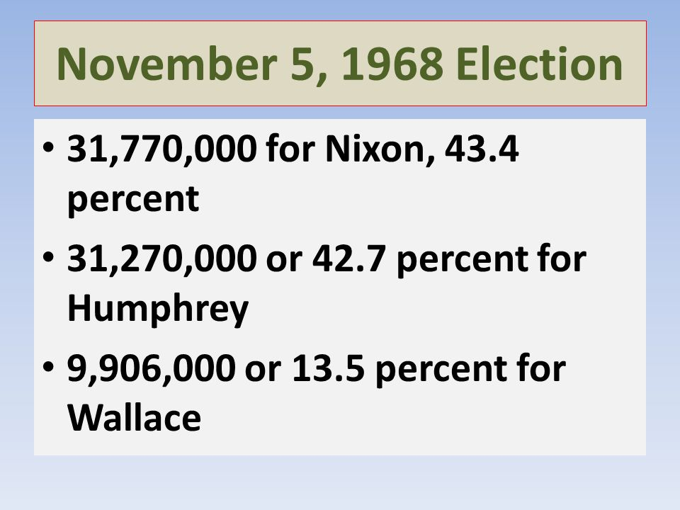 November 5, 1968 Election 31,770,000 for Nixon, 43.4 percent 31,270,000 or 42.7 percent for Humphrey 9,906,000 or 13.5 percent for Wallace