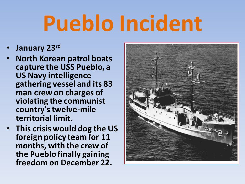 Pueblo Incident January 23 rd North Korean patrol boats capture the USS Pueblo, a US Navy intelligence gathering vessel and its 83 man crew on charges