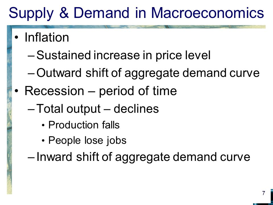 Supply & Demand in Macroeconomics Inflation –Sustained increase in price level –Outward shift of aggregate demand curve Recession – period of time –To