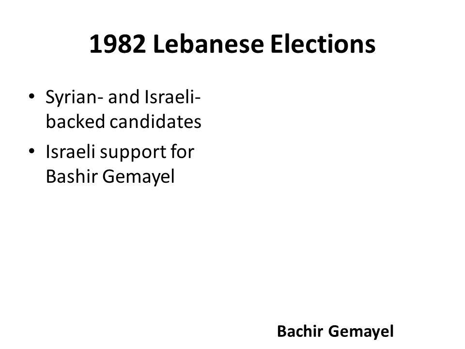1982 Lebanese Elections Syrian- and Israeli- backed candidates Israeli support for Bashir Gemayel Bachir Gemayel