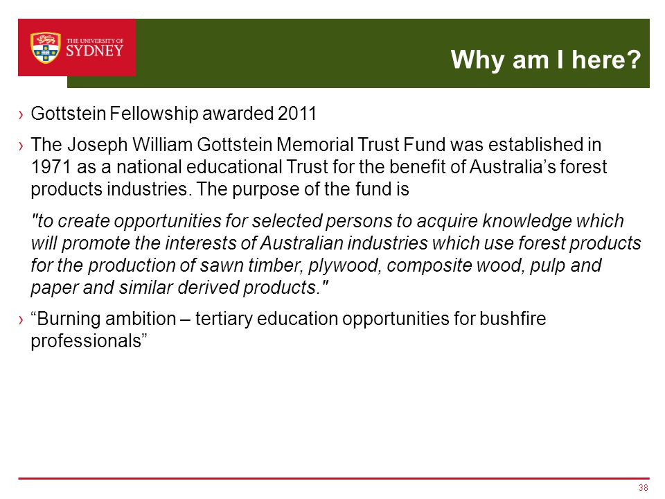 Why am I here? ›Gottstein Fellowship awarded 2011 ›The Joseph William Gottstein Memorial Trust Fund was established in 1971 as a national educational