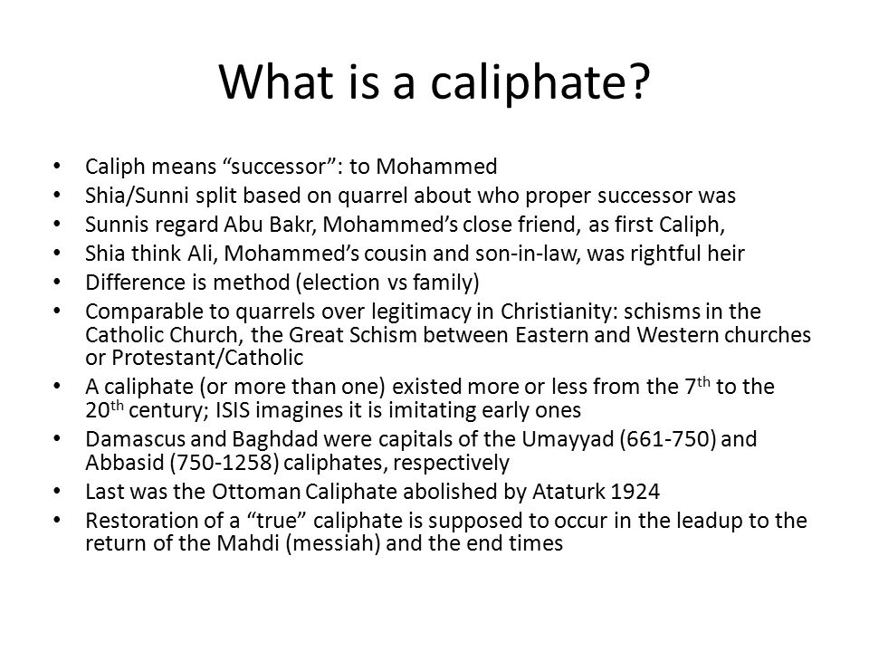 What is a caliphate.