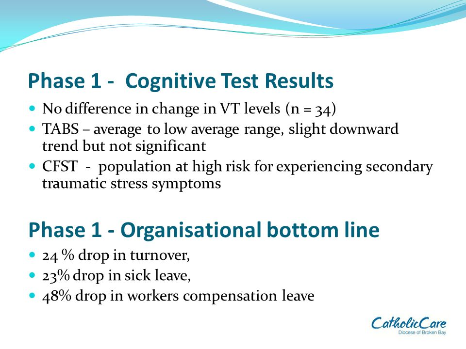 Phase 1 - Cognitive Test Results No difference in change in VT levels (n = 34) TABS – average to low average range, slight downward trend but not sign