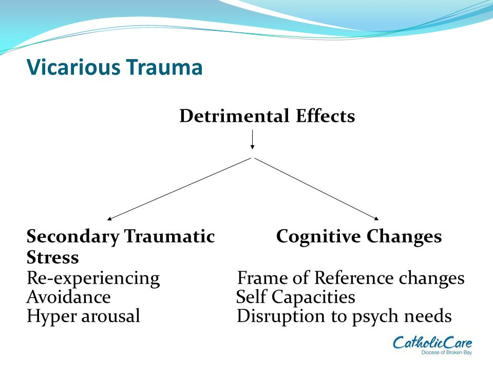 Vicarious Trauma Detrimental Effects Secondary Traumatic Cognitive Changes Stress Re-experiencing Frame of Reference changes Avoidance Self Capacities