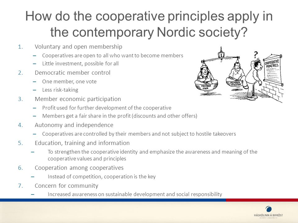 How do the cooperative principles apply in the contemporary Nordic society.