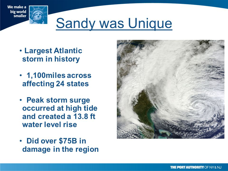 Sandy was Unique Largest Atlantic storm in history 1,100miles across affecting 24 states Peak storm surge occurred at high tide and created a 13.8 ft water level rise Did over $75B in damage in the region