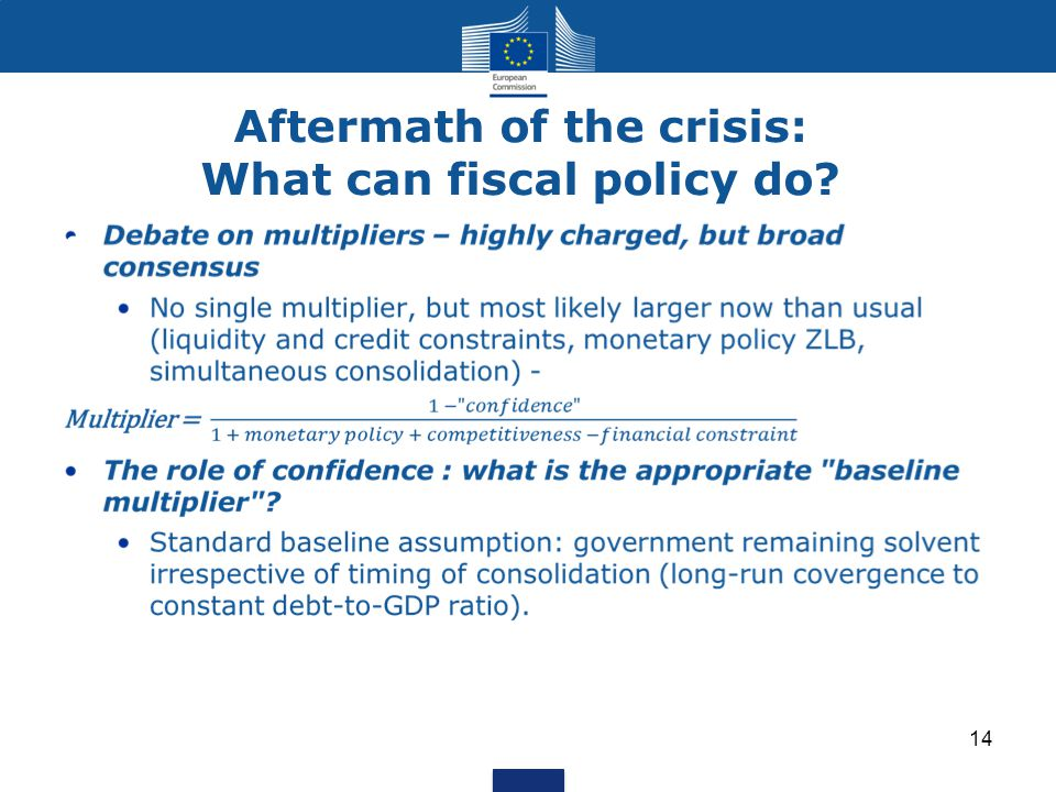 Aftermath of the crisis: What can fiscal policy do 14