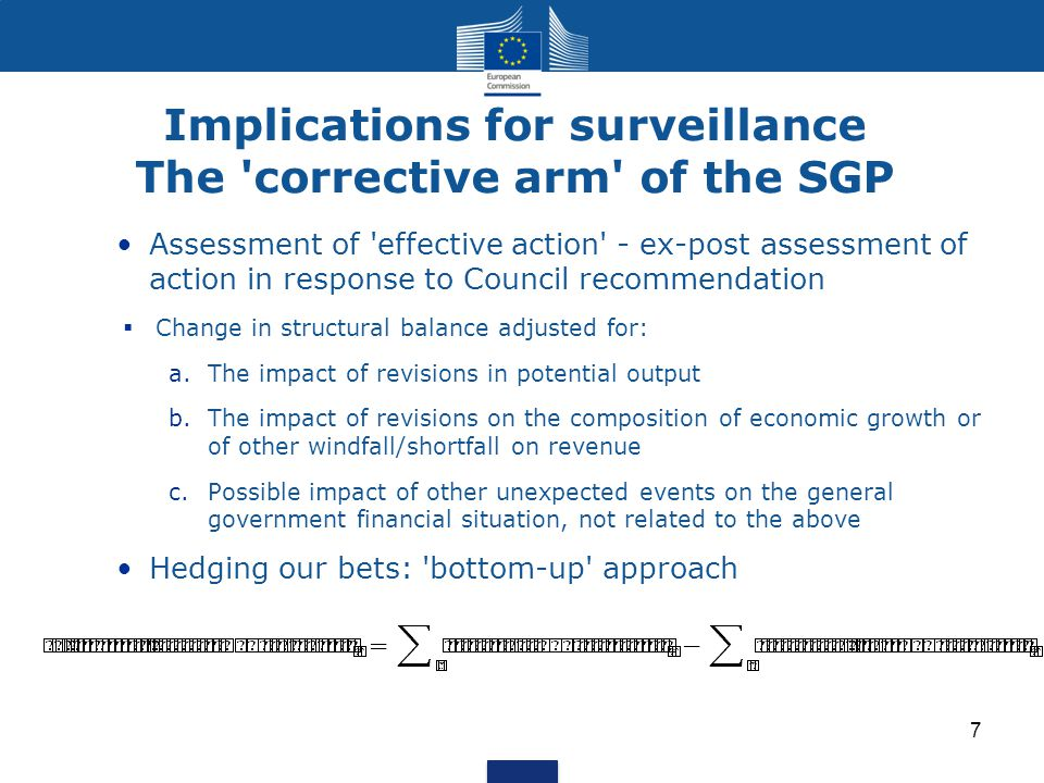 Implications for surveillance The 'corrective arm' of the SGP Assessment of 'effective action' - ex-post assessment of action in response to Council r