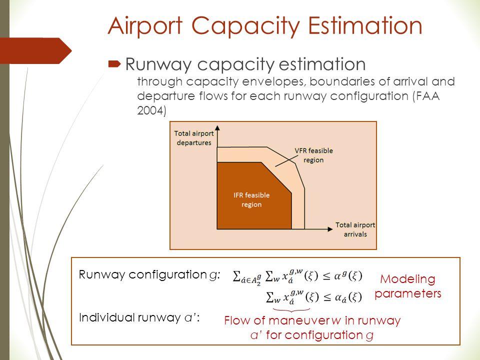 Airport Capacity Estimation  Runway capacity estimation through capacity envelopes, boundaries of arrival and departure flows for each runway configu