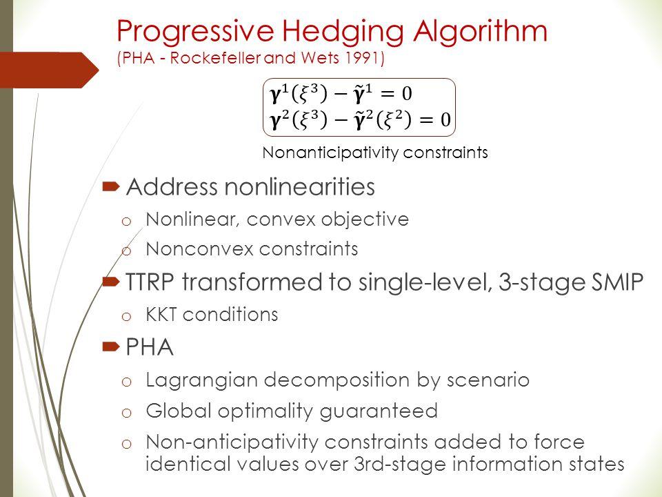 Progressive Hedging Algorithm (PHA - Rockefeller and Wets 1991)  Address nonlinearities o Nonlinear, convex objective o Nonconvex constraints  TTRP