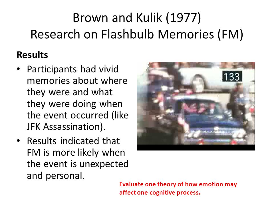 Brown and Kulik (1977) Research on Flashbulb Memories (FM) They suggest it is caused by physiological emotional arousal (amygdala).