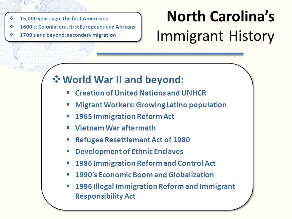 North Carolina's Immigrant History  15,000 years ago: the first Americans  1600's: Colonial era, first Europeans and Africans  1700's and beyond: secondary migration  15,000 years ago: the first Americans  1600's: Colonial era, first Europeans and Africans  1700's and beyond: secondary migration  World War II and beyond:  Creation of United Nations and UNHCR  Migrant Workers: Growing Latino population  1965 Immigration Reform Act  Vietnam War aftermath  Refugee Resettlement Act of 1980  Development of Ethnic Enclaves  1986 Immigration Reform and Control Act  1990's Economic Boom and Globalization  1996 Illegal Immigration Reform and Immigrant Responsibility Act  World War II and beyond:  Creation of United Nations and UNHCR  Migrant Workers: Growing Latino population  1965 Immigration Reform Act  Vietnam War aftermath  Refugee Resettlement Act of 1980  Development of Ethnic Enclaves  1986 Immigration Reform and Control Act  1990's Economic Boom and Globalization  1996 Illegal Immigration Reform and Immigrant Responsibility Act