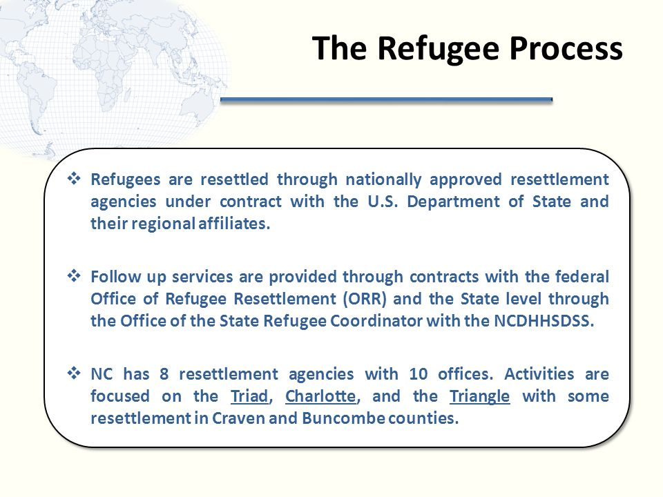 The Refugee Process  Refugees are resettled through nationally approved resettlement agencies under contract with the U.S.