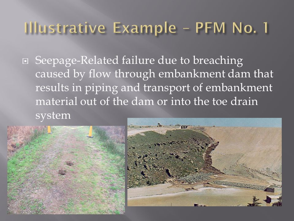  Seepage-Related failure due to breaching caused by flow through embankment dam that results in piping and transport of embankment material out of th