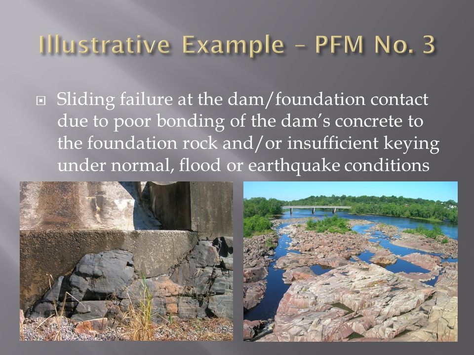  Sliding failure at the dam/foundation contact due to poor bonding of the dam's concrete to the foundation rock and/or insufficient keying under norm