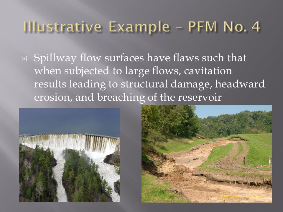  Spillway flow surfaces have flaws such that when subjected to large flows, cavitation results leading to structural damage, headward erosion, and br