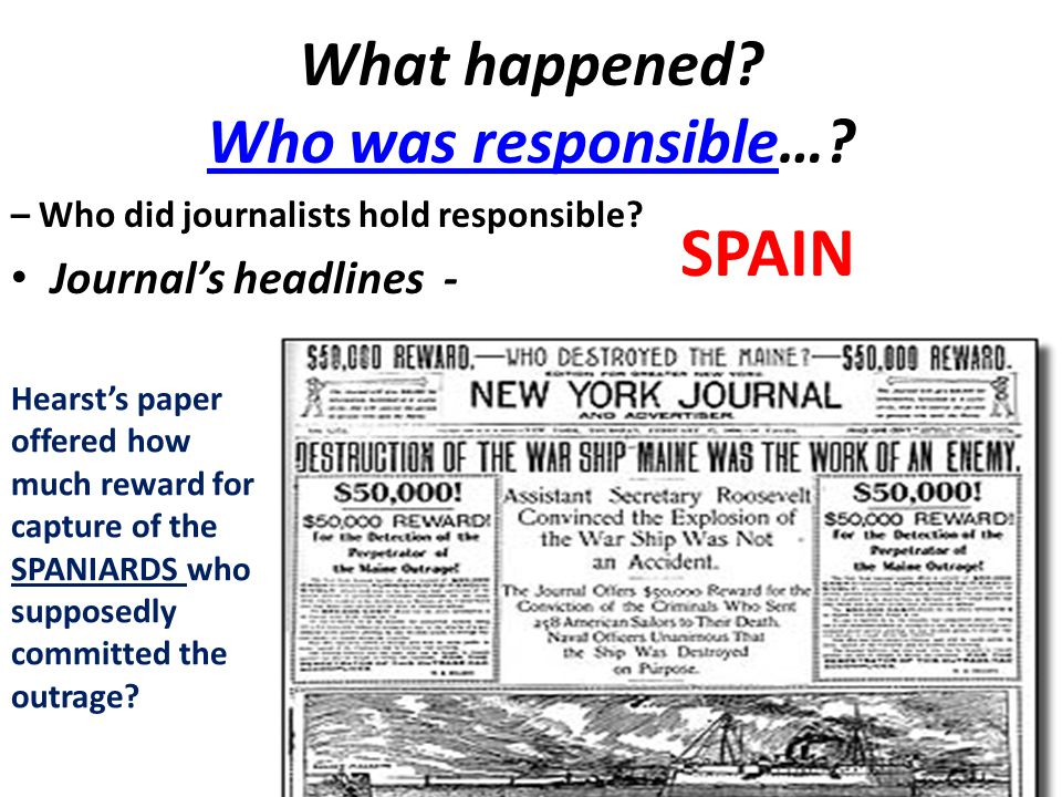 What happened. Who was responsible…. Who was responsible – Who did journalists hold responsible.