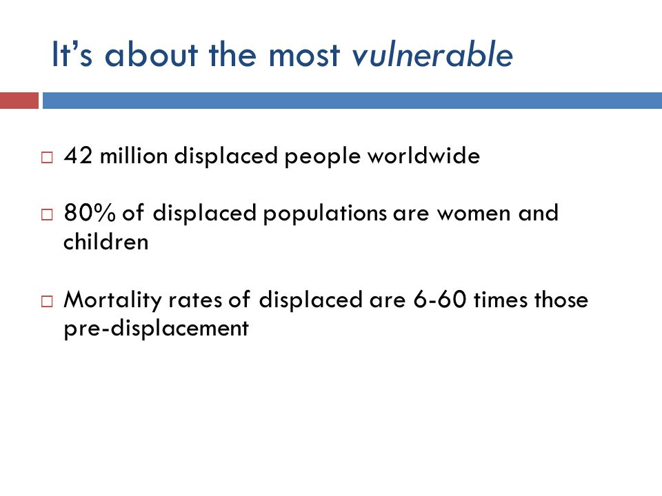 It's about the most vulnerable  42 million displaced people worldwide  80% of displaced populations are women and children  Mortality rates of displaced are 6-60 times those pre-displacement