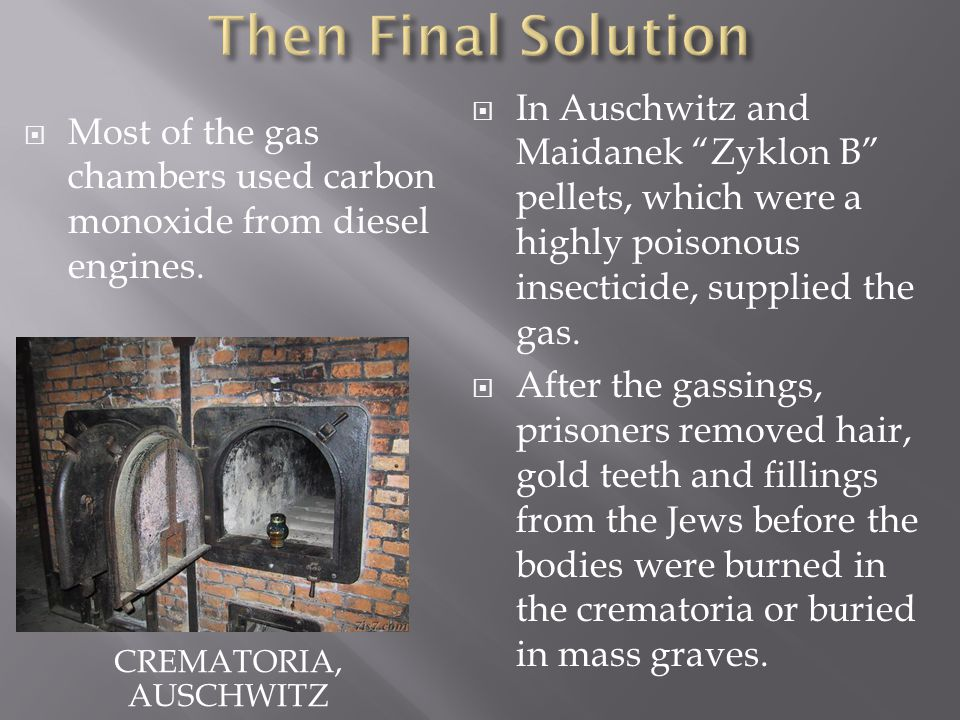 CREMATORIA, AUSCHWITZ  In Auschwitz and Maidanek Zyklon B pellets, which were a highly poisonous insecticide, supplied the gas.