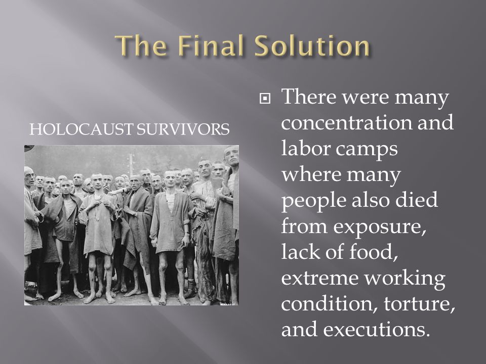HOLOCAUST SURVIVORS  There were many concentration and labor camps where many people also died from exposure, lack of food, extreme working condition, torture, and executions.