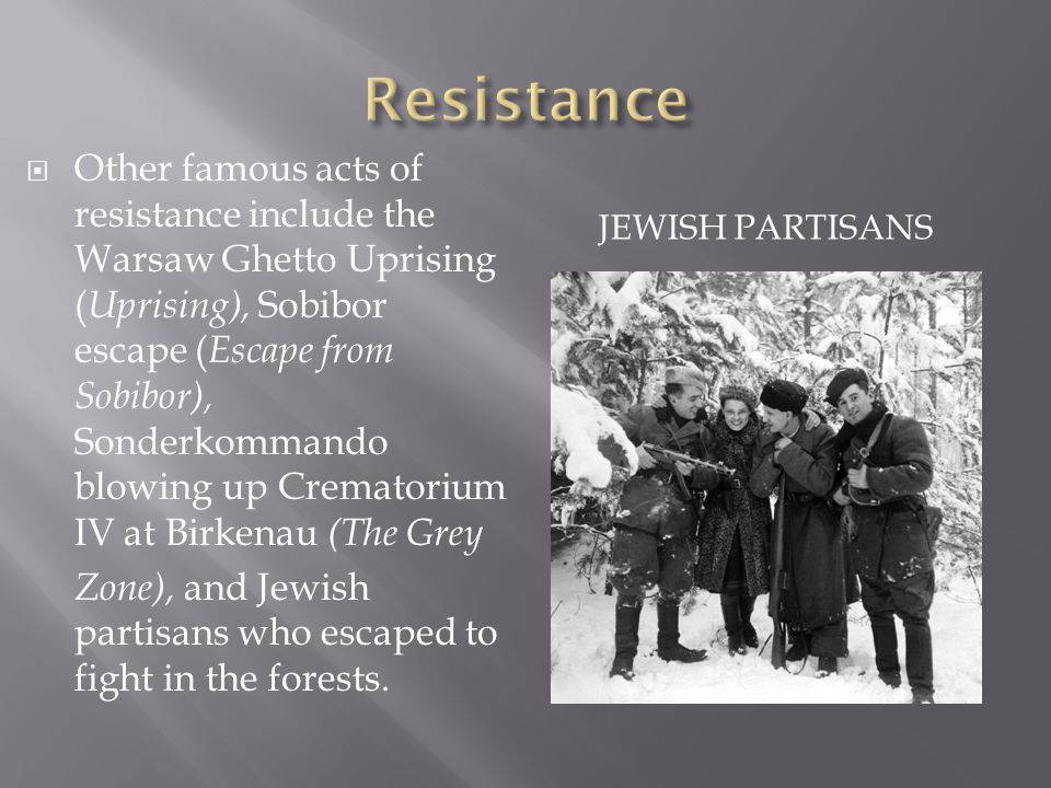 JEWISH PARTISANS  Other famous acts of resistance include the Warsaw Ghetto Uprising ( Uprising), Sobibor escape ( Escape from Sobibor), Sonderkommando blowing up Crematorium IV at Birkenau (The Grey Zone), and Jewish partisans who escaped to fight in the forests.