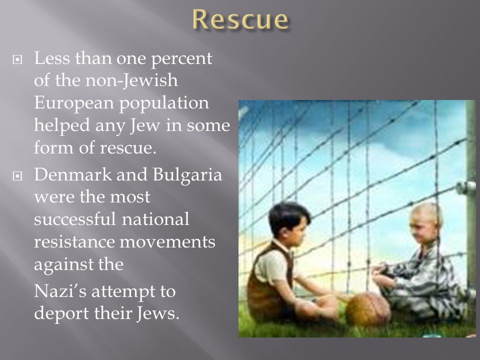  Less than one percent of the non-Jewish European population helped any Jew in some form of rescue.