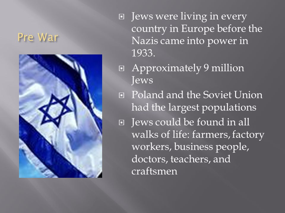 Pre War  Jews were living in every country in Europe before the Nazis came into power in 1933.