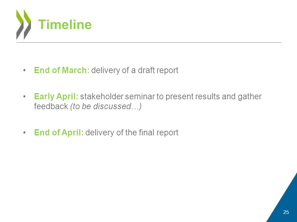 End of March: delivery of a draft report Early April: stakeholder seminar to present results and gather feedback (to be discussed…) End of April: delivery of the final report Timeline 25