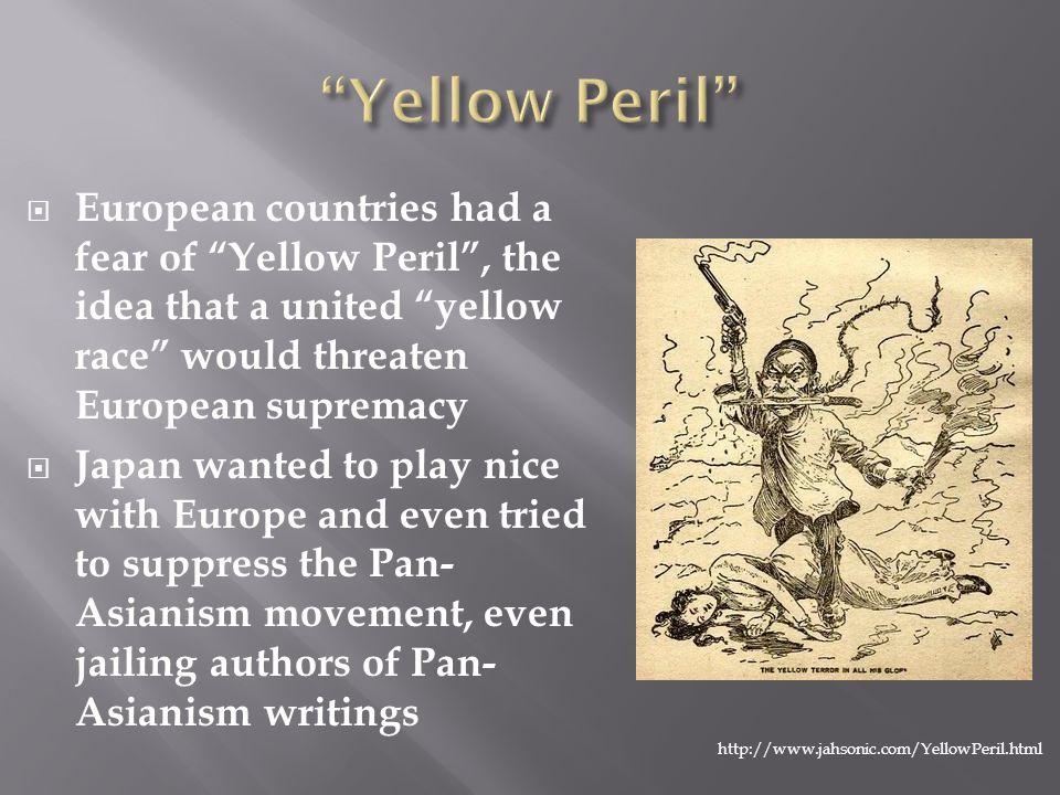" European countries had a fear of ""Yellow Peril"", the idea that a united ""yellow race"" would threaten European supremacy  Japan wanted to play nice"