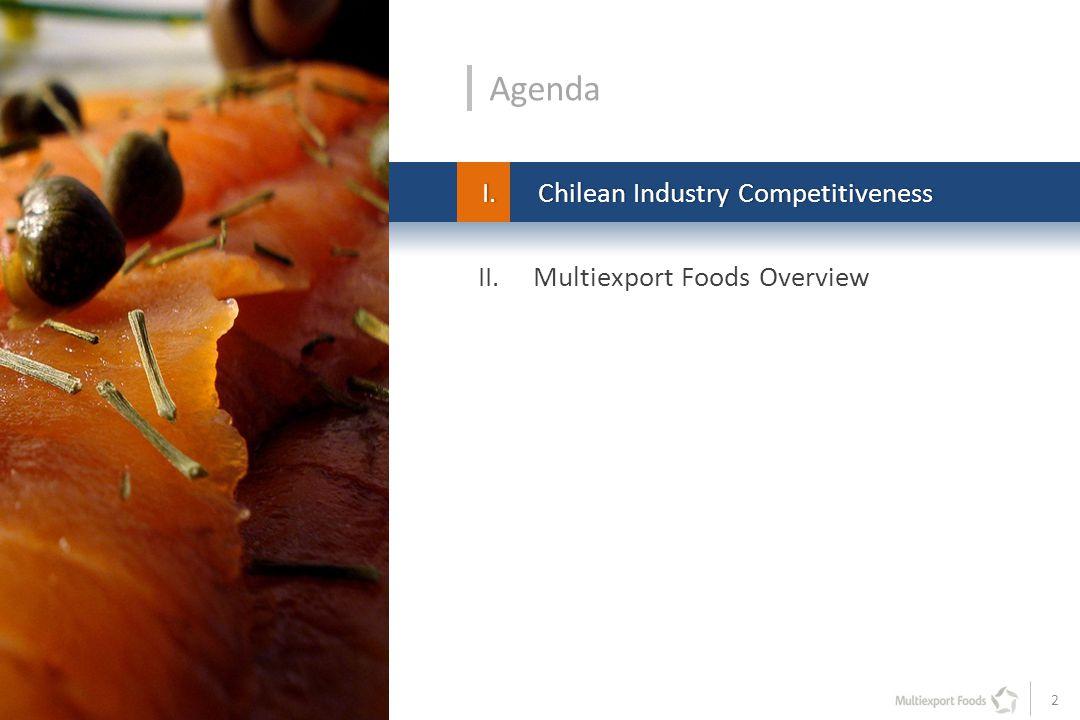 2 II. Multiexport Foods Overview Agenda I.Chilean Industry CompetitivenessI.Chilean Industry Competitiveness