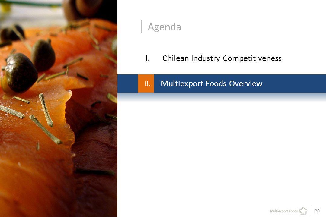 20 II. Multiexport Foods Overview Agenda I.Chilean Industry Competitiveness