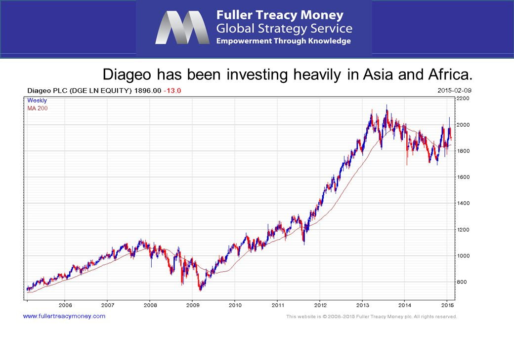 Diageo has been investing heavily in Asia and Africa.