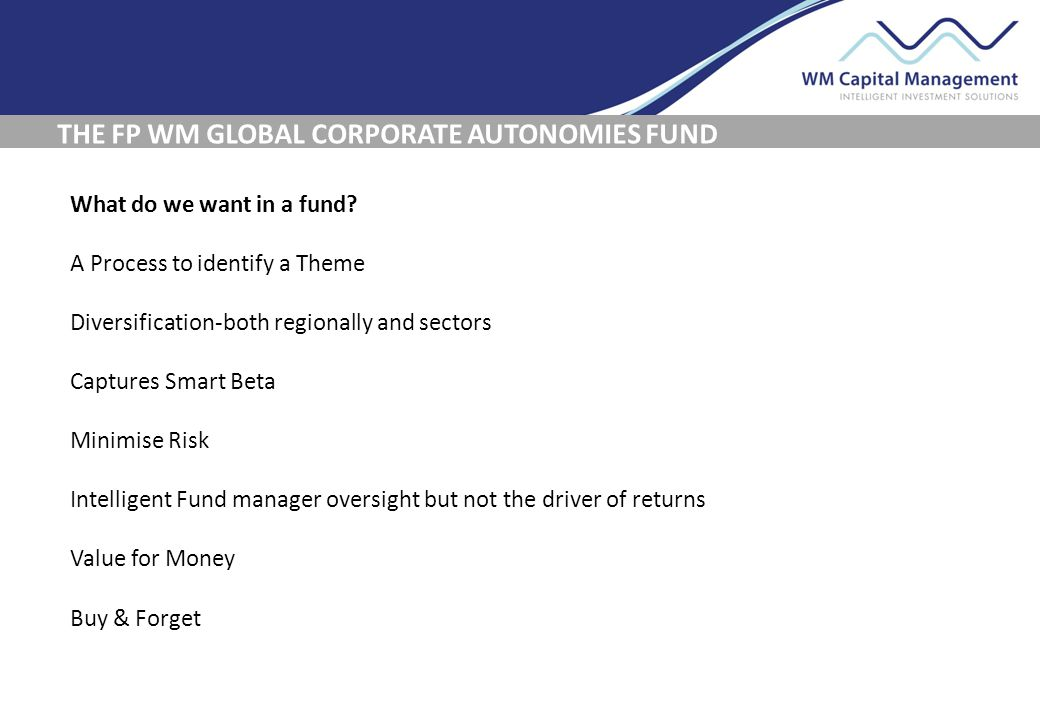 THE FP WM GLOBAL CORPORATE AUTONOMIES FUND What do we want in a fund.