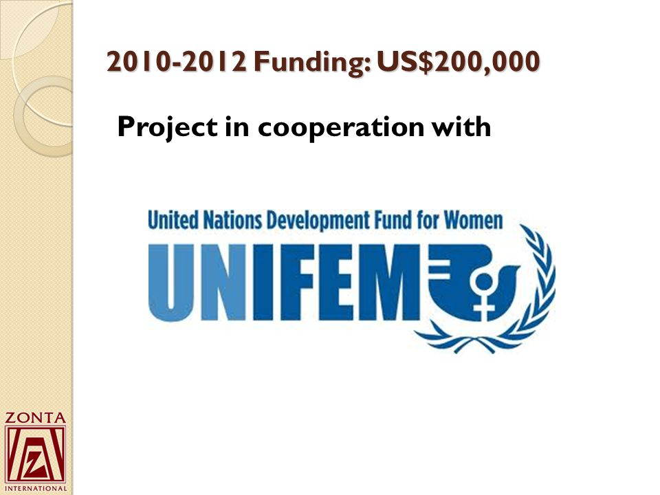 2010-2012 Funding: US$200,000 Project in cooperation with