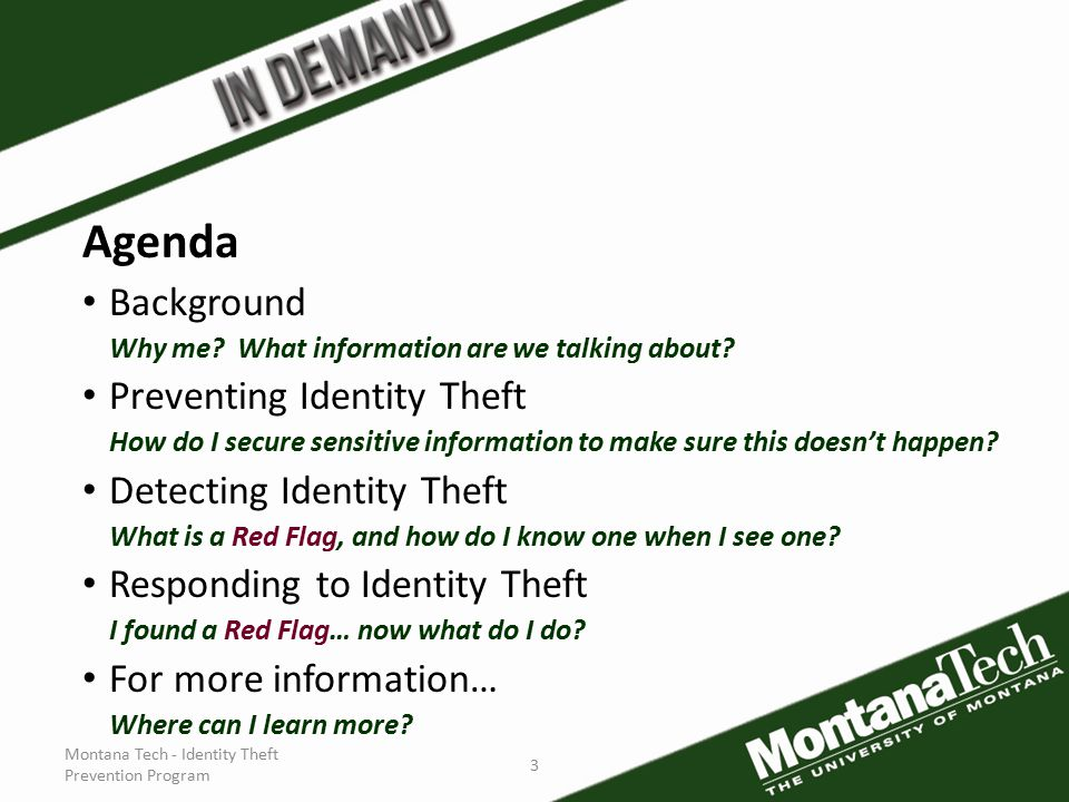 Montana Tech - Identity Theft Prevention Program 3 Agenda Background Why me.