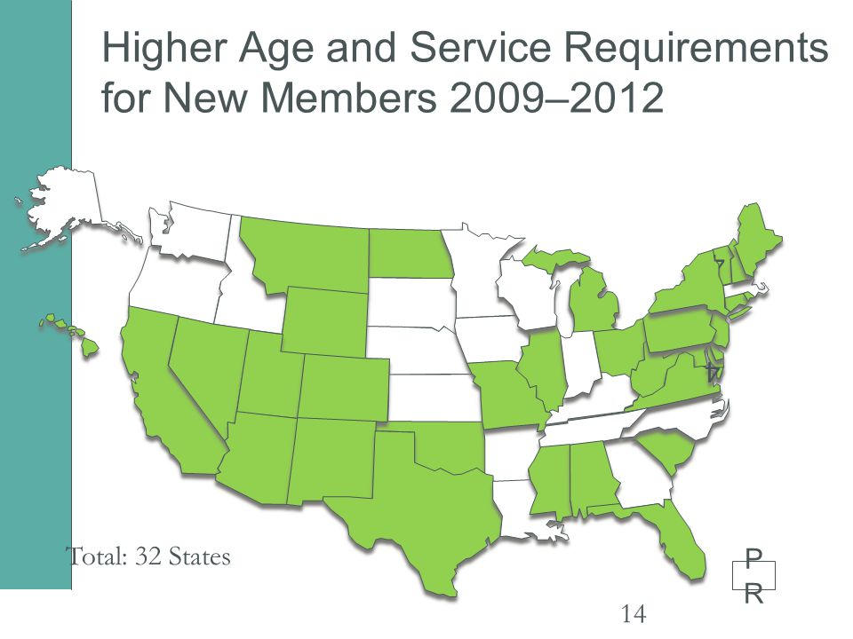 Higher Age and Service Requirements for New Members 2009–2012 14 4 4 Total: 32 States PRPR