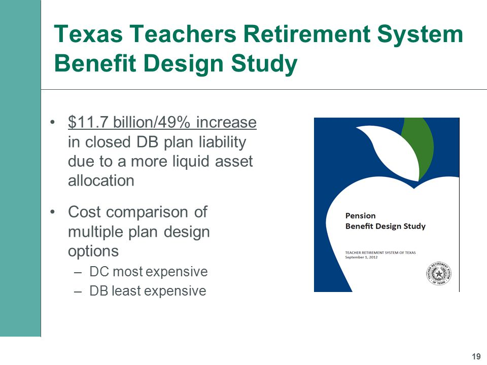 Texas Teachers Retirement System Benefit Design Study $11.7 billion/49% increase in closed DB plan liability due to a more liquid asset allocation Cost comparison of multiple plan design options –DC most expensive –DB least expensive 19