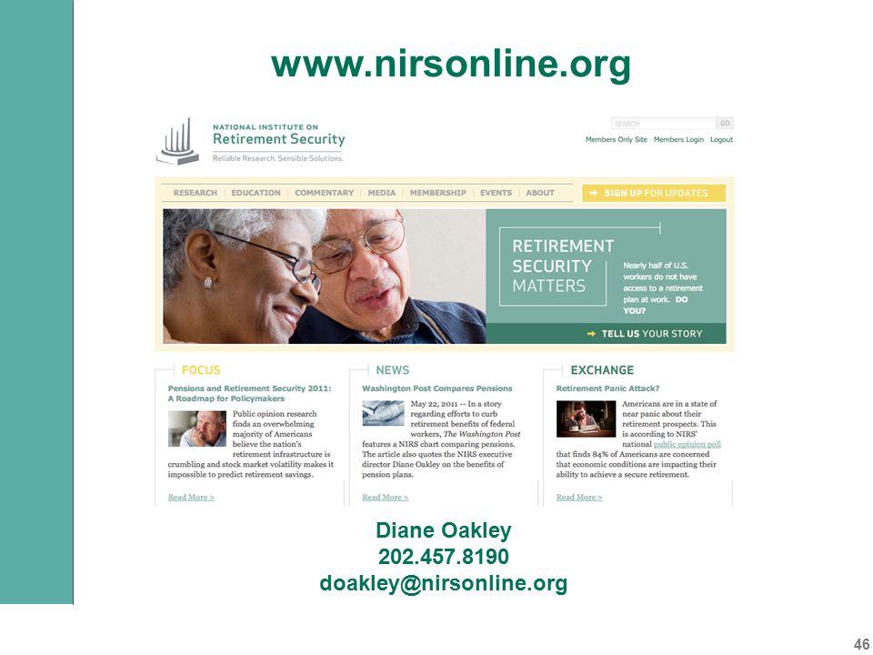 Diane Oakley 202.457.8190 doakley@nirsonline.org www.nirsonline.org 46