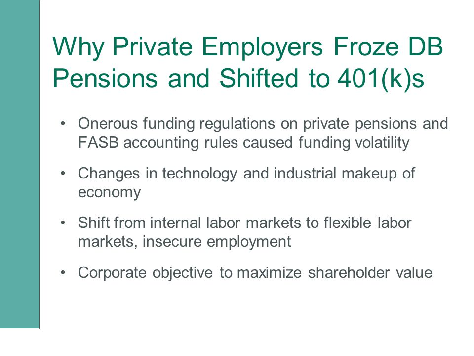 Why Private Employers Froze DB Pensions and Shifted to 401(k)s Onerous funding regulations on private pensions and FASB accounting rules caused funding volatility Changes in technology and industrial makeup of economy Shift from internal labor markets to flexible labor markets, insecure employment Corporate objective to maximize shareholder value