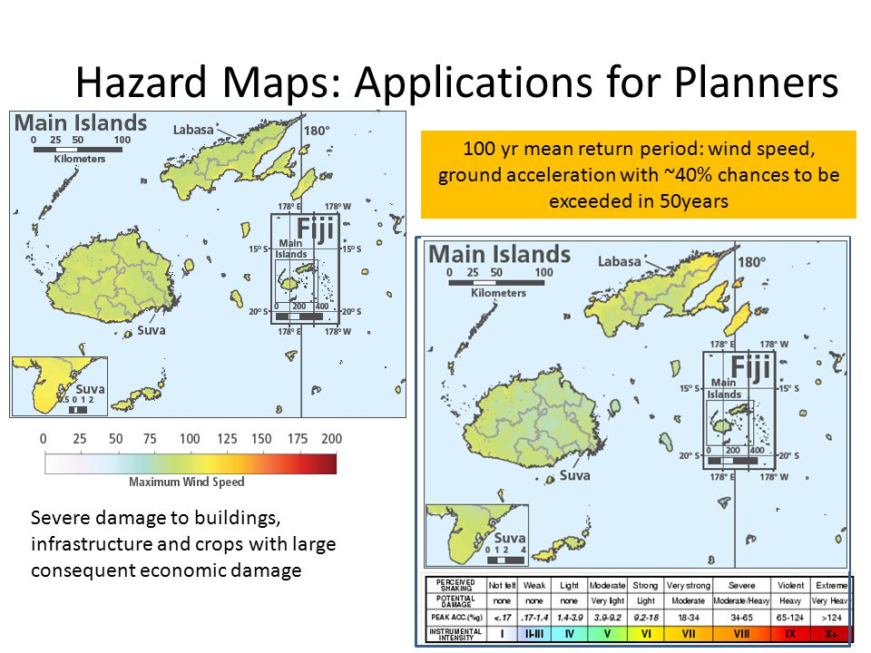 Hazard Maps: Applications for Planners 100 yr mean return period: wind speed, ground acceleration with ~40% chances to be exceeded in 50years Severe damage to buildings, infrastructure and crops with large consequent economic damage