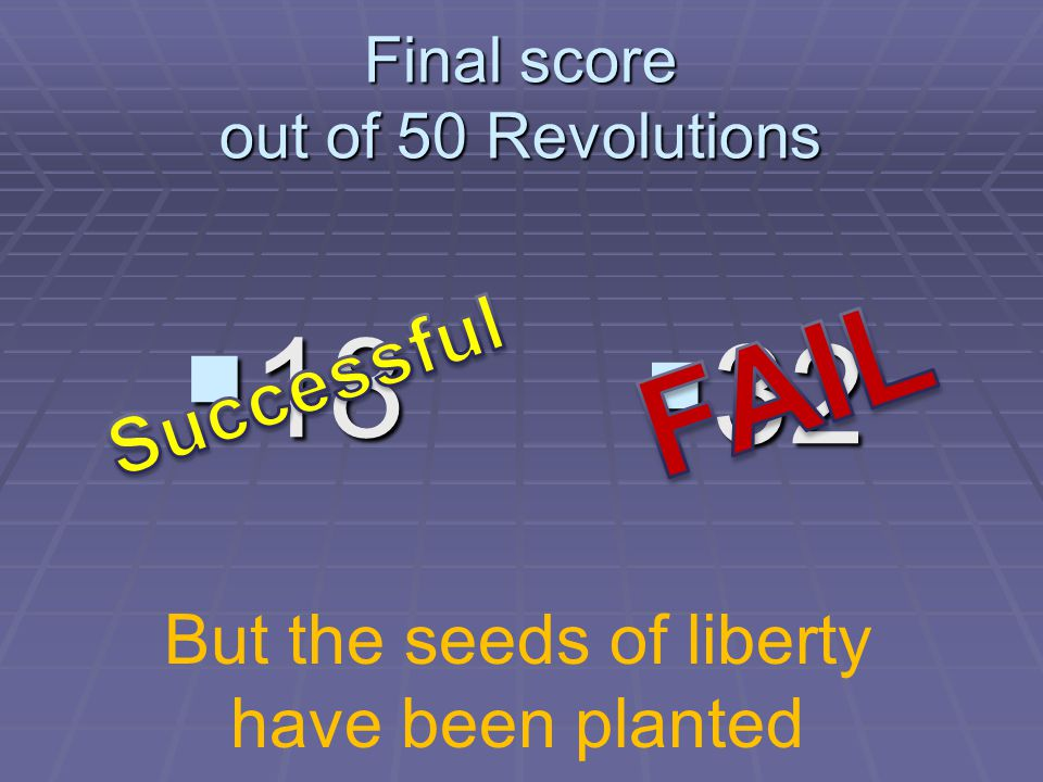 Final score out of 50 Revolutions  32  18 But the seeds of liberty have been planted