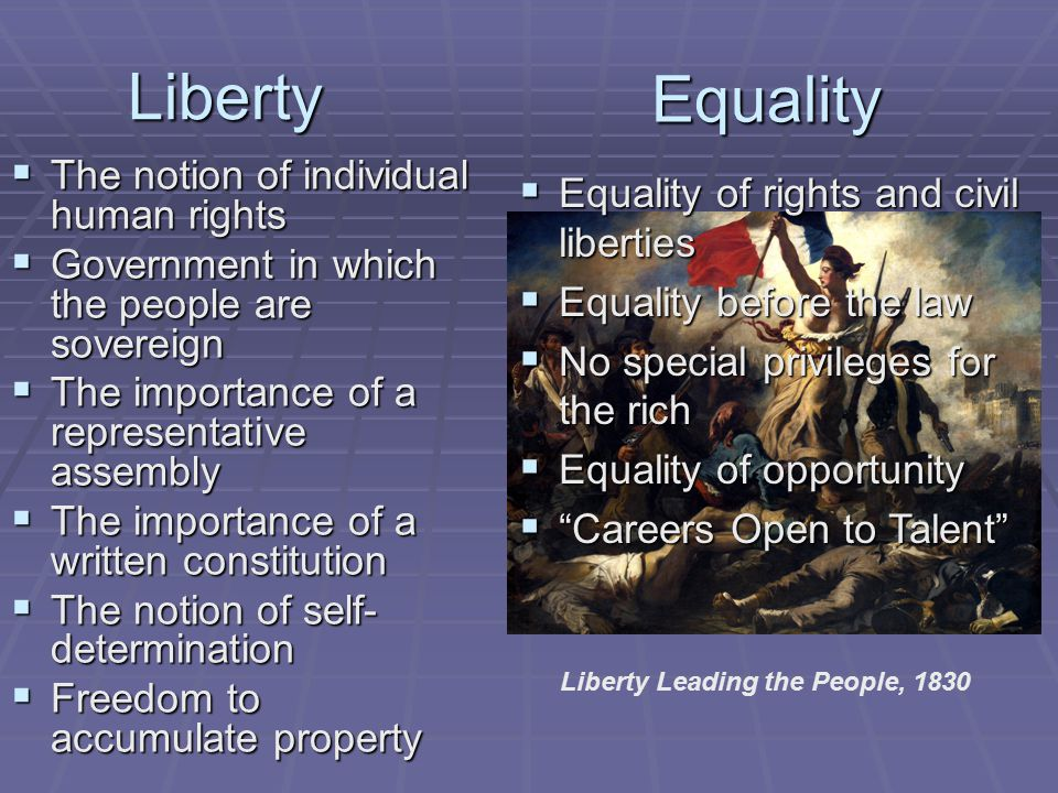 Liberty  The notion of individual human rights  Government in which the people are sovereign  The importance of a representative assembly  The importance of a written constitution  The notion of self- determination  Freedom to accumulate property Liberty Leading the People, 1830 Equality  Equality of rights and civil liberties  Equality before the law  No special privileges for the rich  Equality of opportunity  Careers Open to Talent