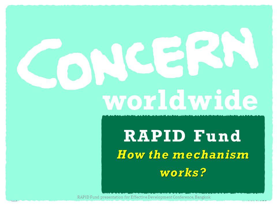 RAPID Fund How the mechanism works? RAPID Fund presentation for Effective Development Conference, Bangkok
