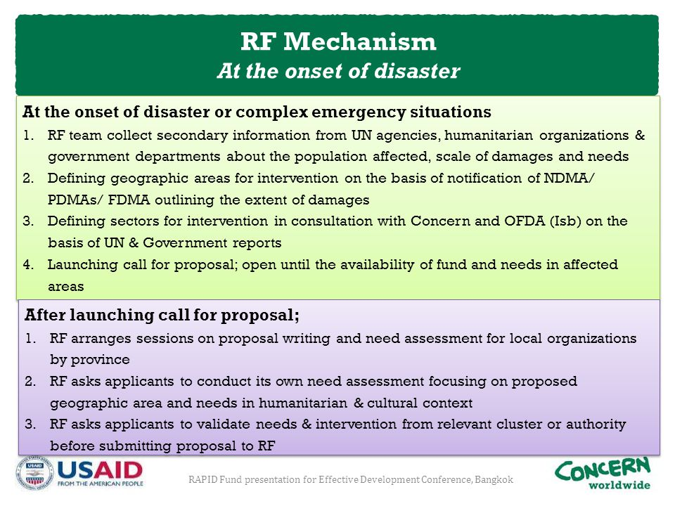 At the onset of disaster or complex emergency situations 1.RF team collect secondary information from UN agencies, humanitarian organizations & govern